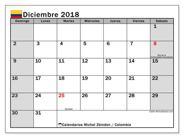 Calendario diciembre 2018, con los días festivos en Colombia. Calendario gratuito para imprimir.