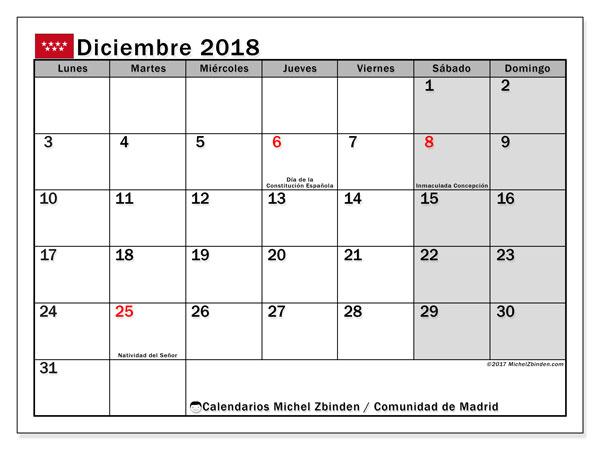 Calendario diciembre 2018, con los días festivos de la Comunidad de Madrid. Calendario para imprimir gratis.