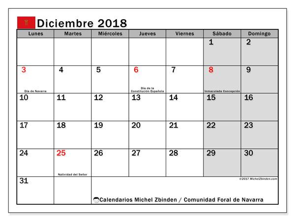 Calendario diciembre 2018, con los días festivos para la Comunidad Foral de Navarra. Planificación para imprimir gratis.