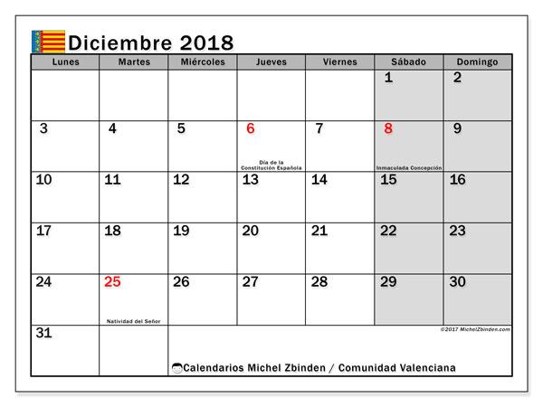 Calendario diciembre 2018, con los días festivos de la Comunidad Valenciana. Calendario mensual para imprimir gratis.