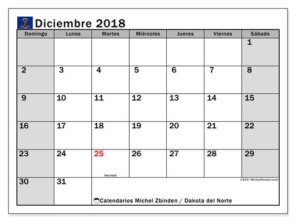 Calendario diciembre 2018, con los días feriados en Dakota del Norte. Calendario gratuito para imprimir.