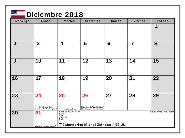 Calendario diciembre 2018, con los días feriados en EE.UU.. Calendario imprimible gratis.