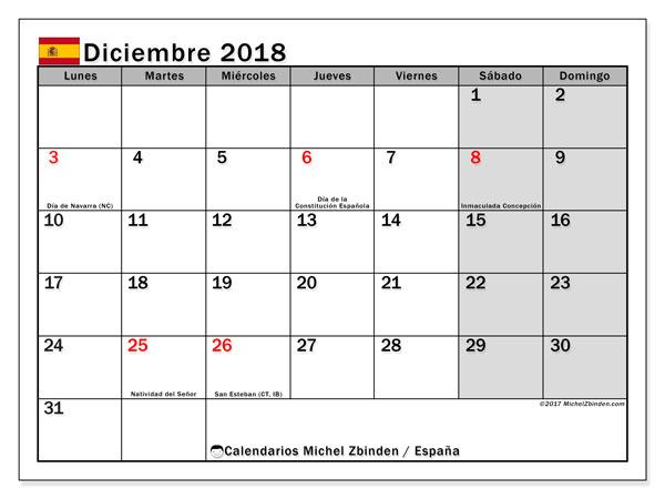 Calendario diciembre 2018, con los días festivos de España. Almanaque para imprimir gratis.