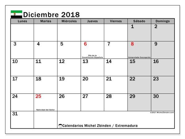 Calendario diciembre 2018, con los días festivos de Extremadura. Almanaque para imprimir gratis.