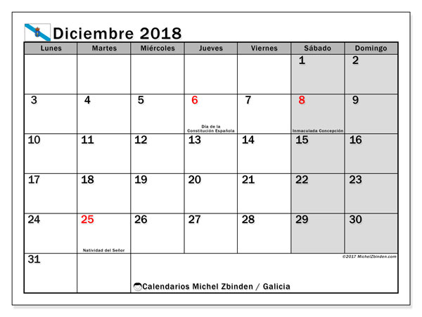Calendario diciembre 2018, con los días festivos en Galicia. Calendario mensual para imprimir gratis.