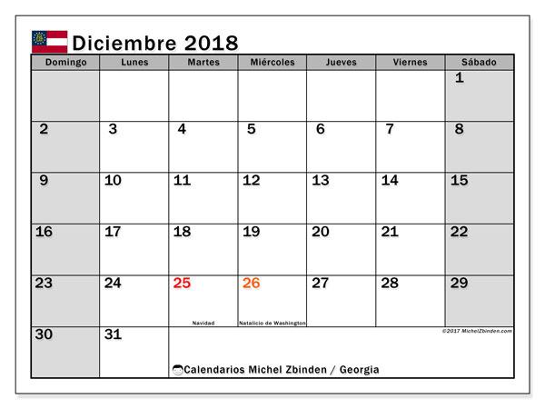 Calendario diciembre 2018, con los días feriados de Georgia. Planificación para imprimir gratis.