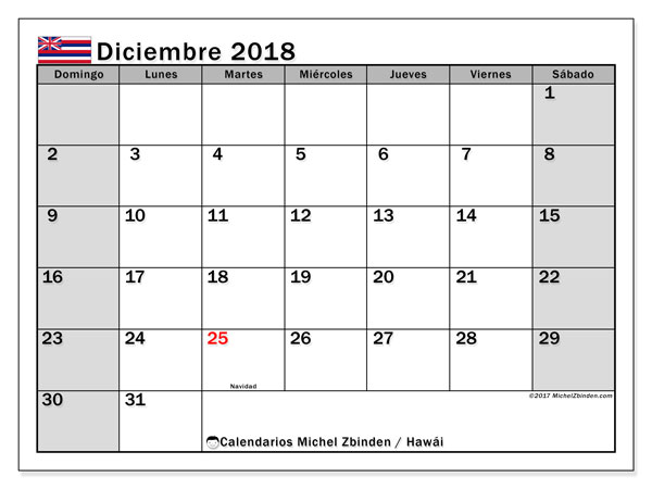 Calendario diciembre 2018, con los días feriados en Hawái. Planificación para imprimir gratis.