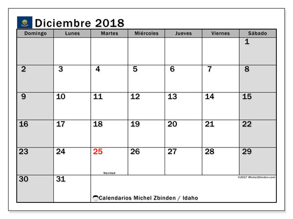 Calendario diciembre 2018, con los días feriados de Idaho. Calendario mensual para imprimir gratis.