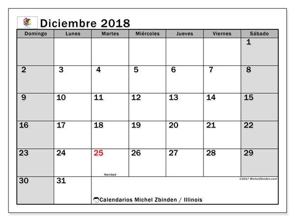 Calendario diciembre 2018, con los días feriados en Illinois. Calendario imprimible gratis.