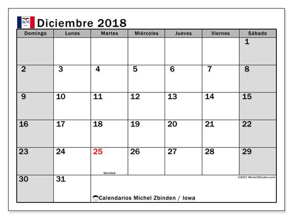 Calendario diciembre 2018, con los días feriados en Iowa. Calendario imprimible gratis.
