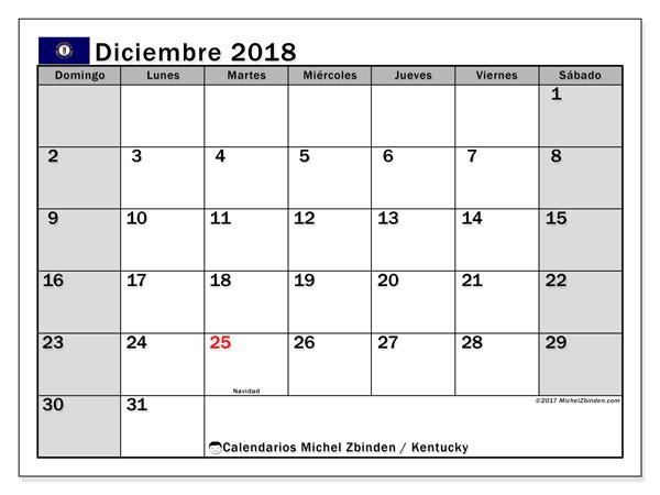 Calendario diciembre 2018, con los días feriados en Kentucky. Calendario imprimible gratis.