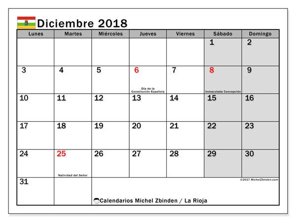 Calendario diciembre 2018, con los días festivos de La Rioja. Almanaque para imprimir gratis.