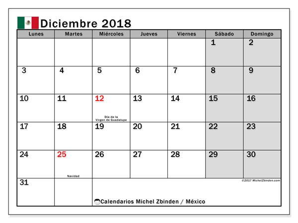 Calendario diciembre 2018, con los días feriados en México. Planificación para imprimir gratis.