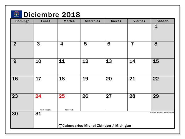 Calendario diciembre 2018, con los días feriados en Míchigan. Calendario gratuito para imprimir.