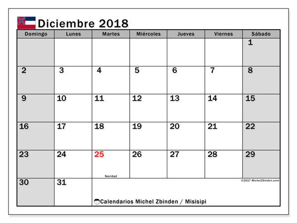 Calendario diciembre 2018, con los días feriados de Misisipi. Almanaque para imprimir gratis.