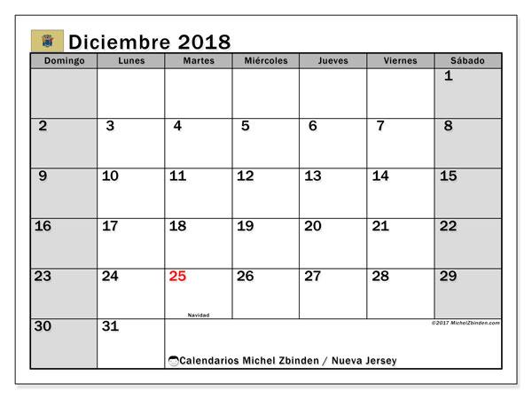 Calendario diciembre 2018, con los días feriados de Nueva Jersey. Calendario imprimible gratis.