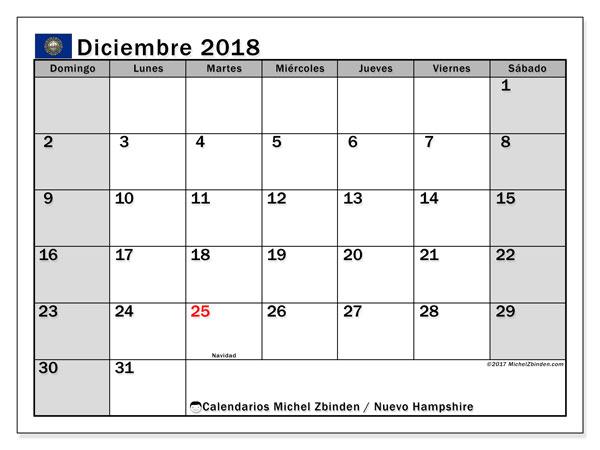 Calendario diciembre 2018, con los días feriados de Nuevo Hampshire. Calendario imprimible gratis.