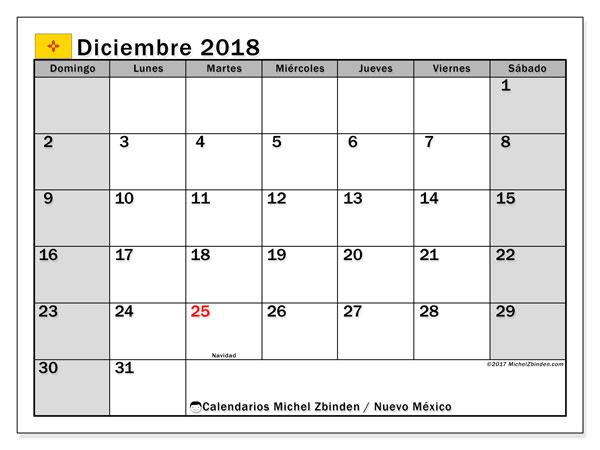 Calendario diciembre 2018, con los días feriados en Nuevo México. Almanaque para imprimir gratis.