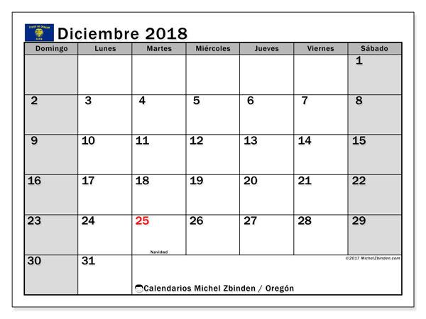 Calendario diciembre 2018, con los días feriados en Oregón. Calendario gratuito para imprimir.