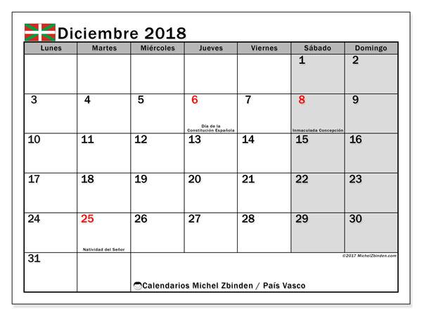 Calendario diciembre 2018, con los días festivos del País Vasco. Calendario para imprimir gratis.