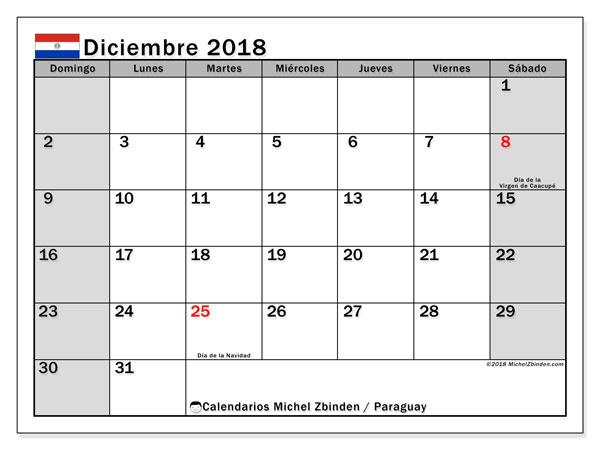 Calendario diciembre 2018, con los días feriados en Paraguay. Planificación para imprimir gratis.