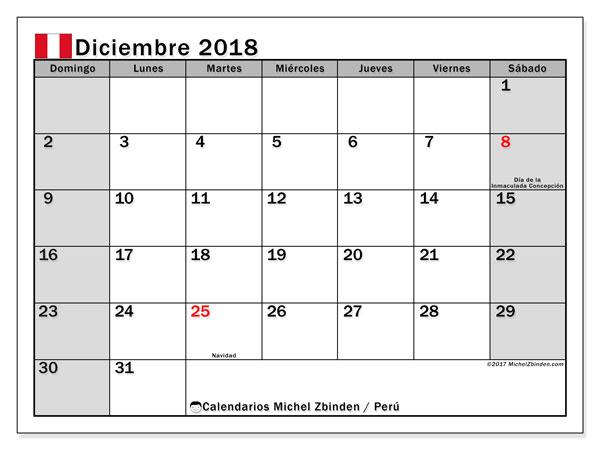 Calendario diciembre 2018, con los días feriados para Perú. Calendario para imprimir gratis.