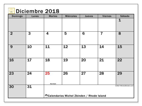 Calendario diciembre 2018, con los días feriados en Rhode Island. Almanaque para imprimir gratis.