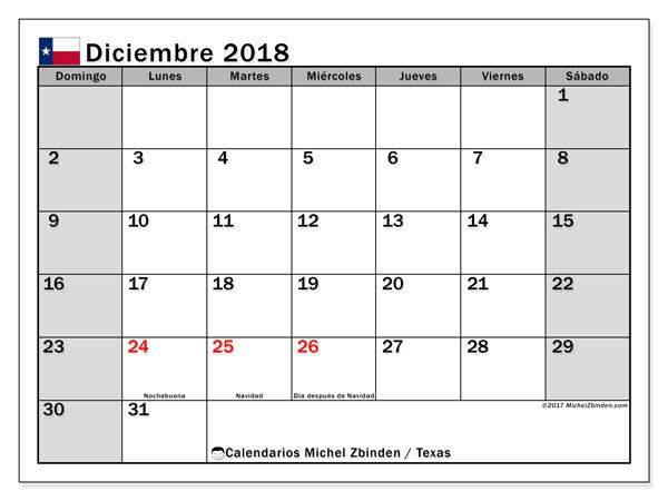 Calendario diciembre 2018, con los días feriados en Texas. Calendario para imprimir gratis.