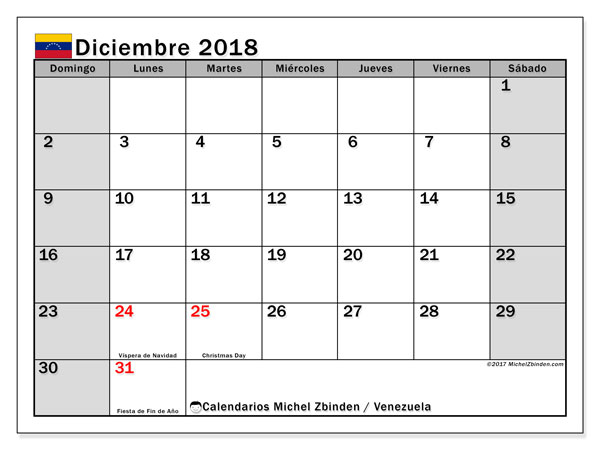 Calendario diciembre 2018, con los días feriados para Venezuela. Planificación para imprimir gratis.