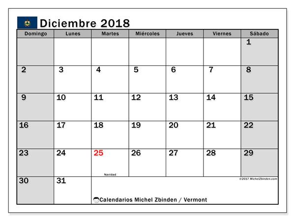 Calendario diciembre 2018, con los días feriados en Vermont. Planificación para imprimir gratis.