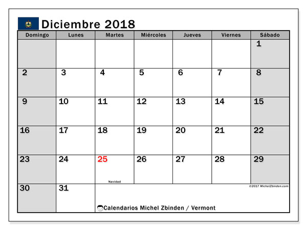 Calendario diciembre 2018, con los días feriados en Vermont. Calendario para imprimir gratis.