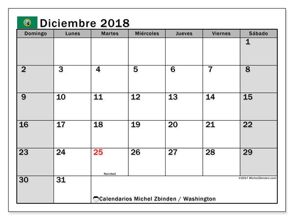 Calendario diciembre 2018, con los días feriados en Washington. Calendario para imprimir gratis.