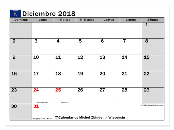 Calendario diciembre 2018, con los días feriados en Wisconsin. Almanaque para imprimir gratis.