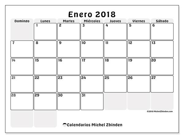 Calendario enero 2018 (44DS). Calendario gratuito para imprimir.