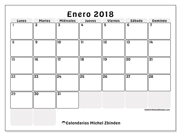 Calendario enero 2018 (44LD). Calendario mensual para imprimir gratis.