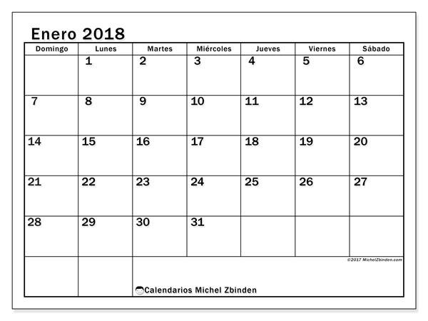 Calendario enero 2018 (50DS). Calendario gratuito para imprimir.