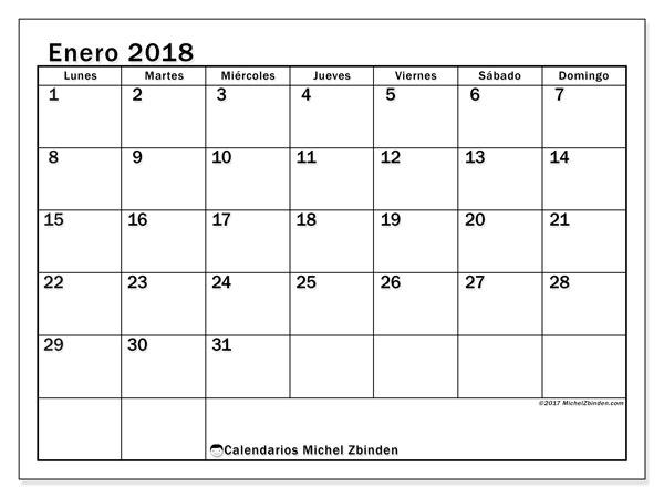 Calendario  enero de 2018, 50LD