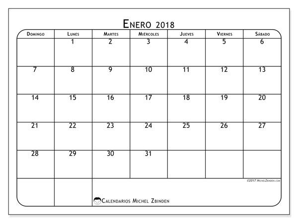 Calendario enero 2018 (51DS). Calendario imprimible gratis.