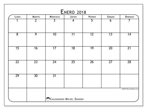 Calendario  enero de 2018, 51LD