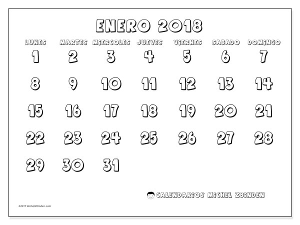 Calendario enero 2018 (56LD). Calendario para imprimir gratis.