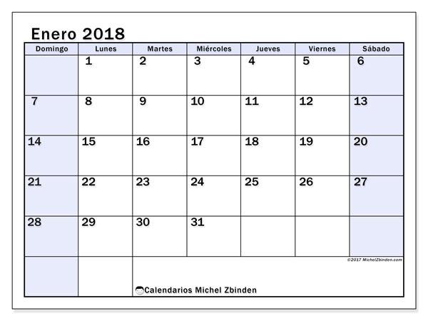 Calendario enero 2018 (57DS). Almanaque para imprimir gratis.