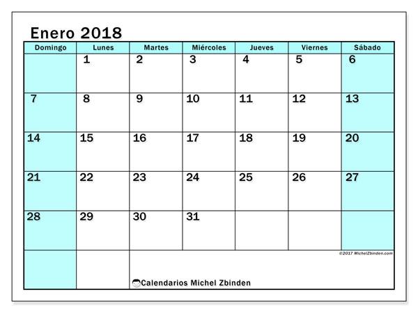 Calendario enero 2018 (59DS). Calendario mensual para imprimir gratis.
