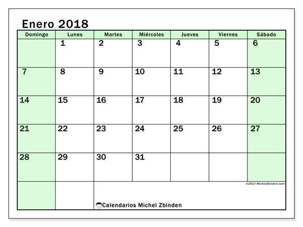 Calendario enero 2018 (60DS). Calendario mensual para imprimir gratis.