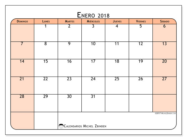 Calendario enero 2018 (61DS). Calendario imprimible gratis.