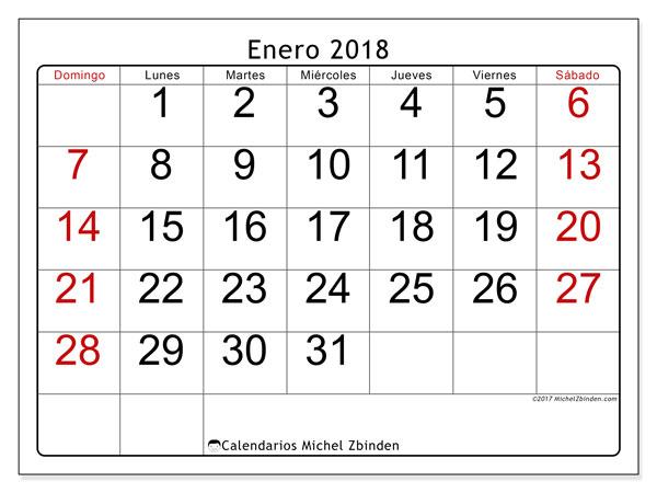 Calendario enero 2018 (62DS). Almanaque para imprimir gratis.