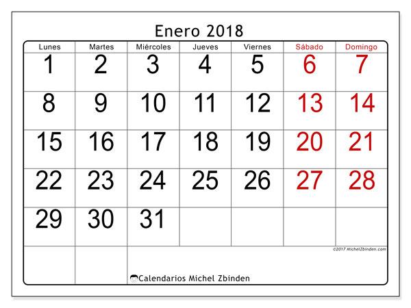 Calendario enero 2018 (62LD). Calendario para imprimir gratis.