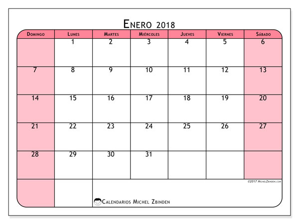 Calendario enero 2018 (64DS). Calendario para el mes para imprimir gratis.