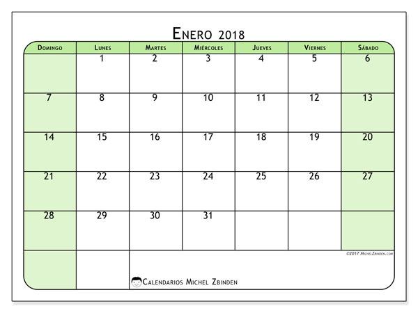 Calendario enero 2018 (65DS). Calendario mensual para imprimir gratis.