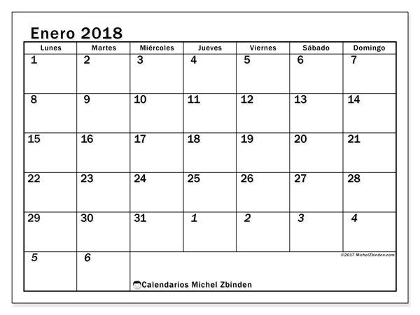 Calendario enero 2018 (66LD). Almanaque para imprimir gratis.