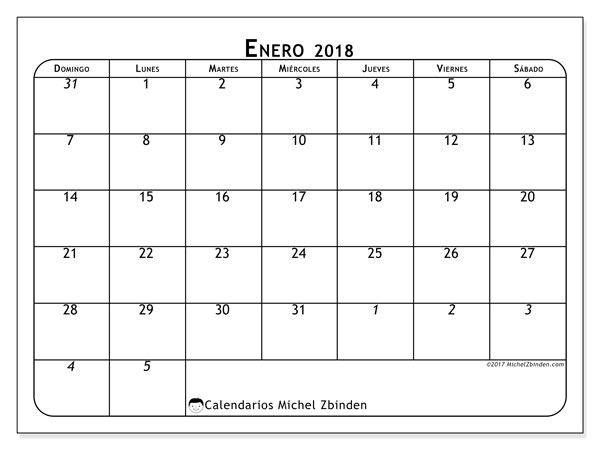 Calendario enero 2018 (67DS). Calendario imprimible gratis.